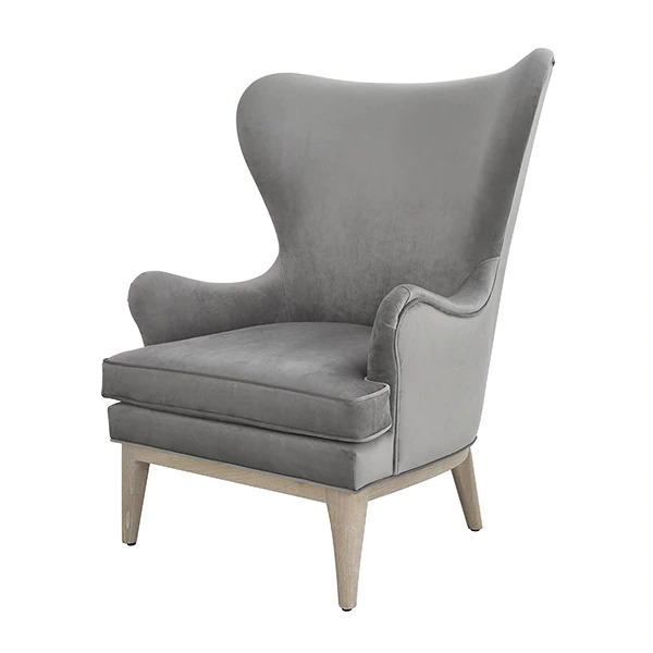 Frisco Grey wing chair angle view