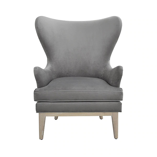 Frisco Grey wing chair front view