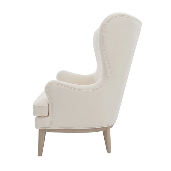 Frisco Ivory wing chair side view