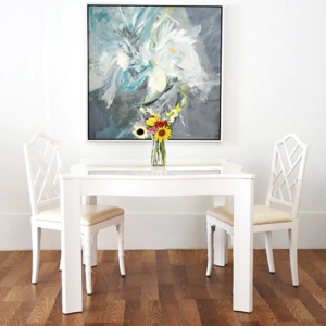 White lacquer square table lifestyle