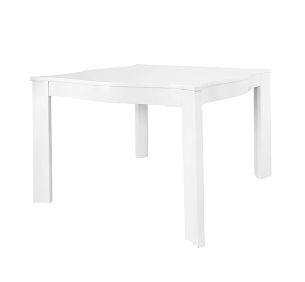 White lacquer sq table angled