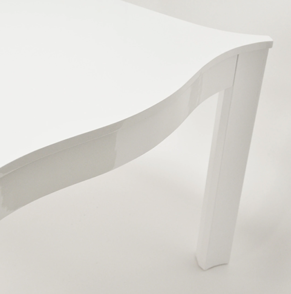 White lacquer sq table side top