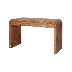 Dark Burl Wood Desk angle view