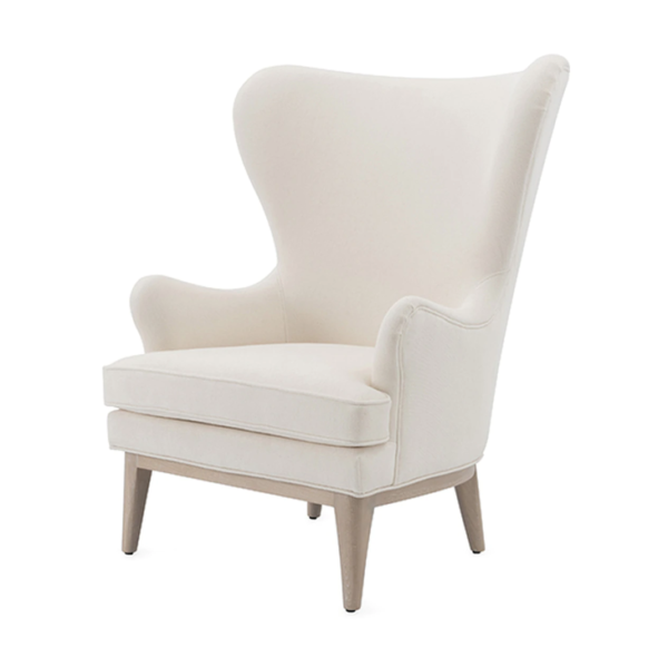 Frisco Ivory wing chair angle view