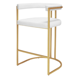 Barrel back bar stool in white