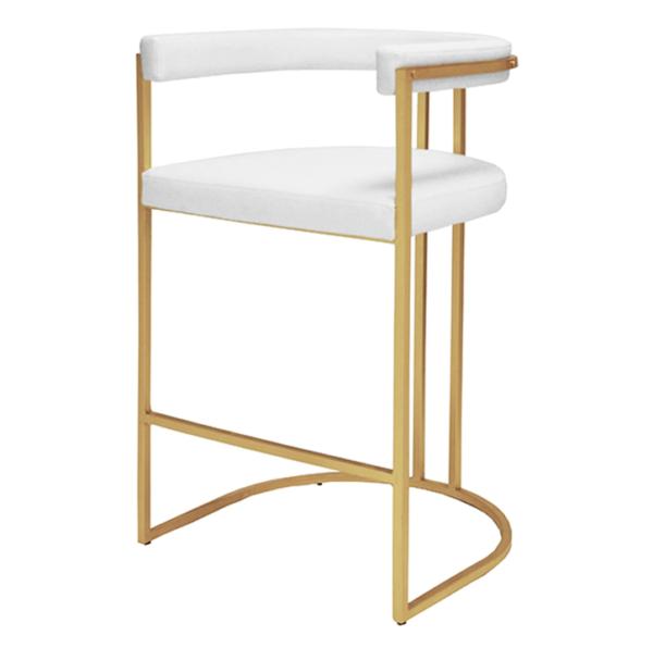 Barrel back bar stool in white