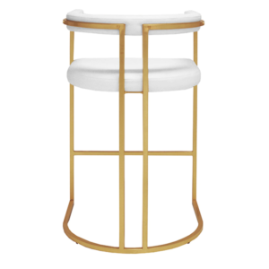 Barrel backside bar stool in white