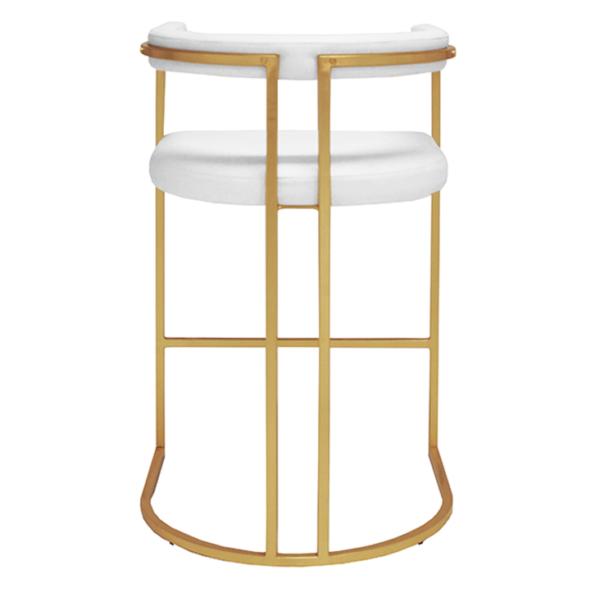 Barrel backside bar stool in white