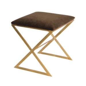 Brown side stool in gold leaf finish.