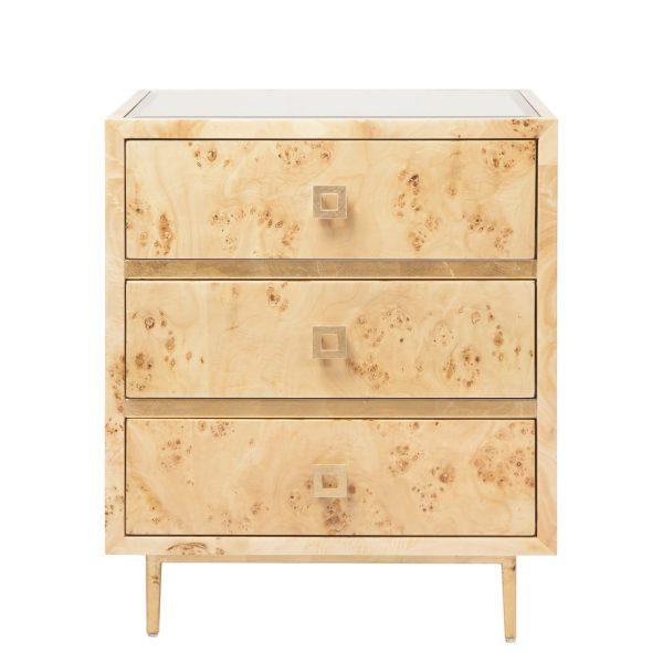 Burl Wood 3 Drawer Side Table Katzberry Home Decor