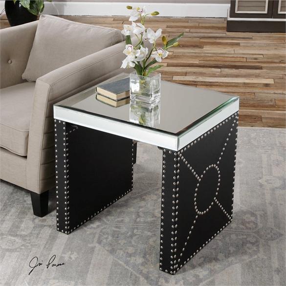 Chrome Studded Side Table Katzberry Home Decor - Studded coffee table
