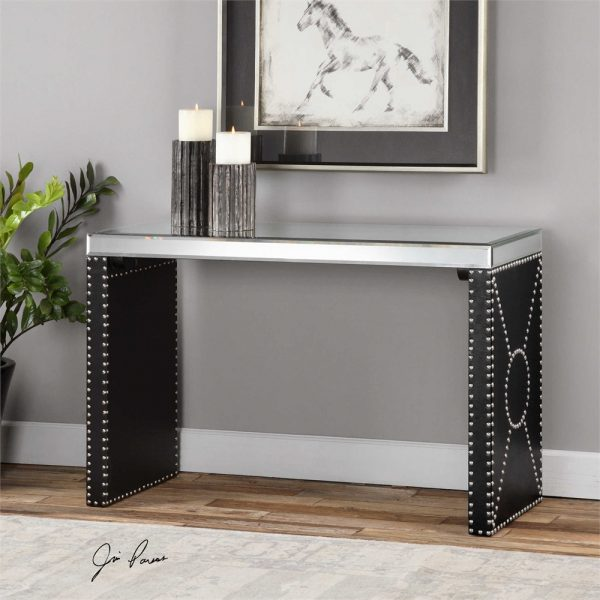 Superior Chrome Studded Console Table