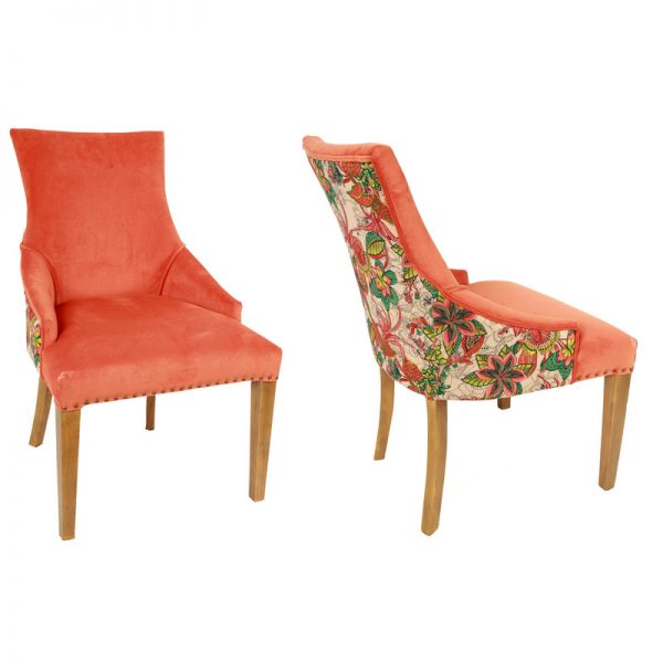 Coral Floral Plush Chair