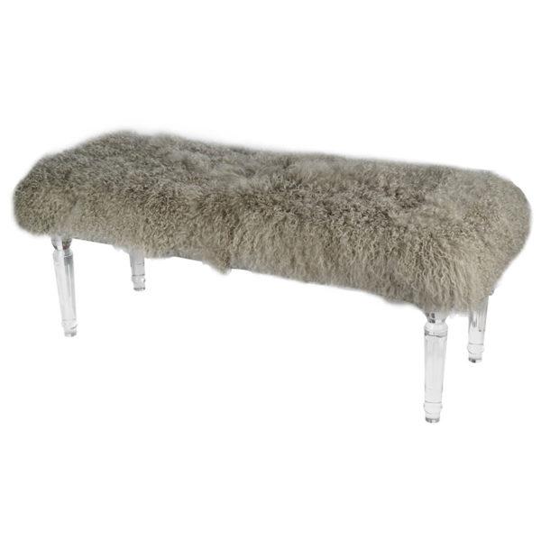 Gray Mongolian Fur Bench with Acrylic legs Angle view