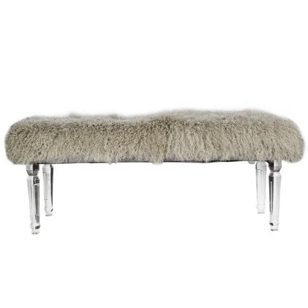 Gray Mongolian Fur Bench with Acrylic legs