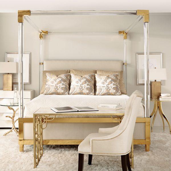 Acrylic & Brass Canopy Bed - Bernhardt Aiden Acrylic & Brass Canopy Bed Katzberry Home Decor