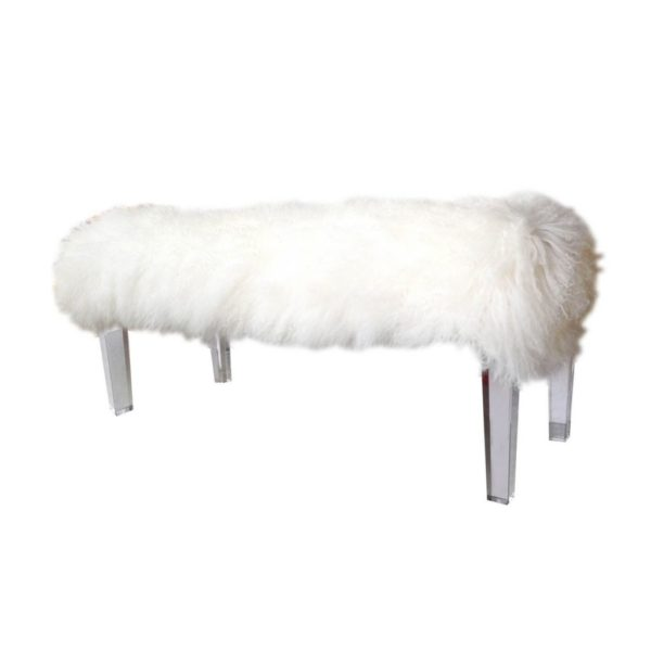 White mongolian Bench with straight legs
