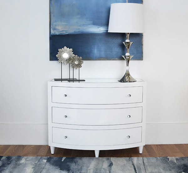 White Lacquer 3 drawer chest lifestyle