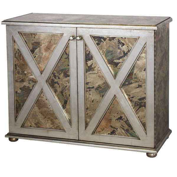 X Style Antiqued Mirrored Cabinet