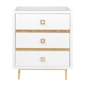 3-drawer side cabinet with Gold leaf detail.