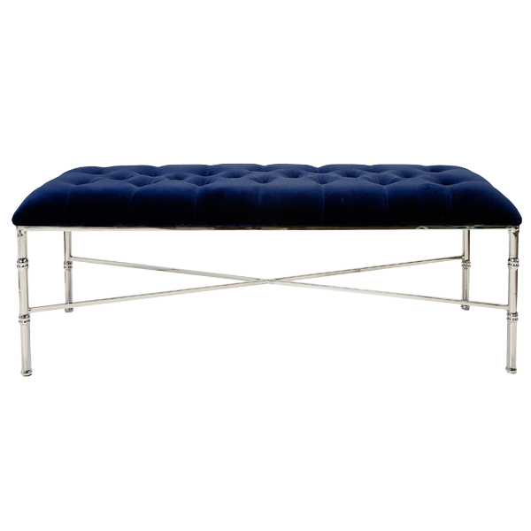 Stella bench in Navy upholstery and polished nickel base.