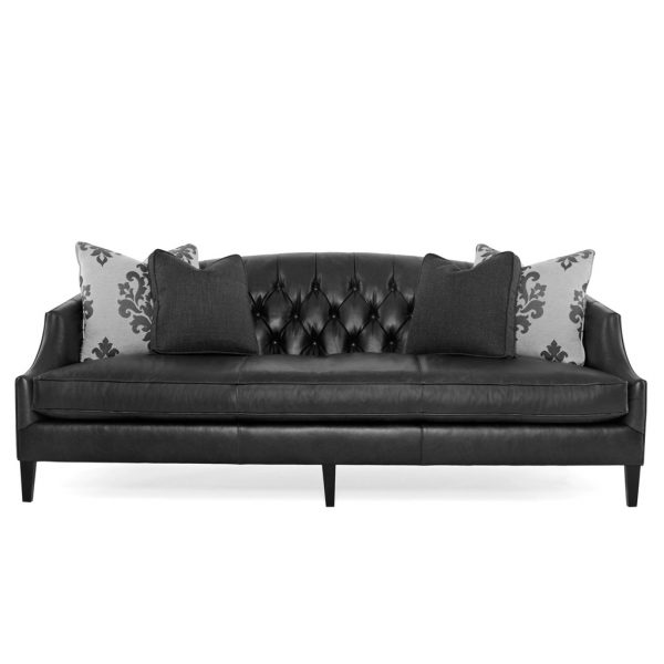 Diane Black Leather Sofa