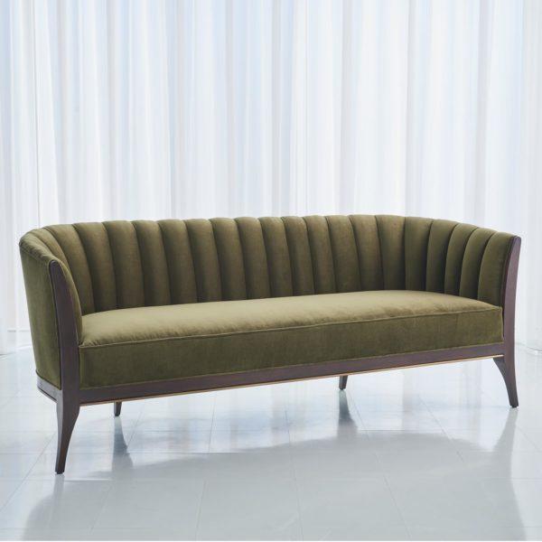 Channel Back Sofa in Moss Velvet