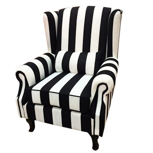 Black U0026 White Stripe Arm Chair