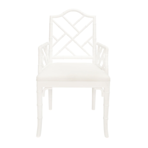 Matte White Chippendale arm chair front view
