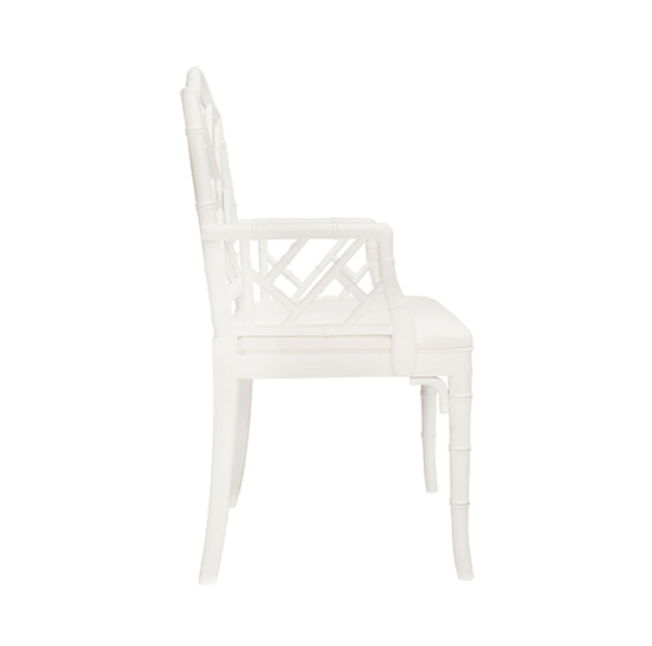 Matte White Chippendale arm chair side view