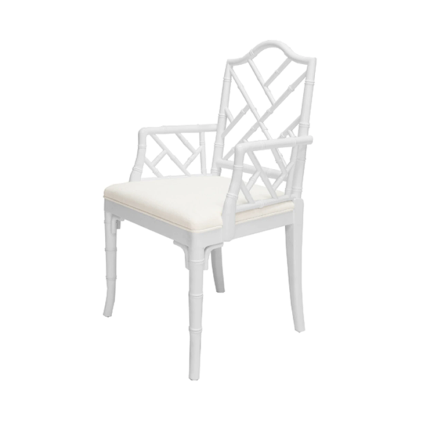 Matte White Chippendale arm chair angle view
