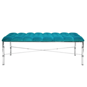 Turquoise bench with silver bamboo design legs