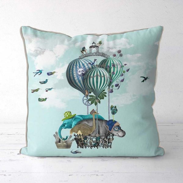 Hippo pillow with balloons front view