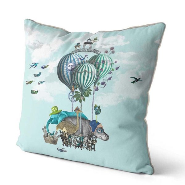 Hippo pillow with balloons angled view