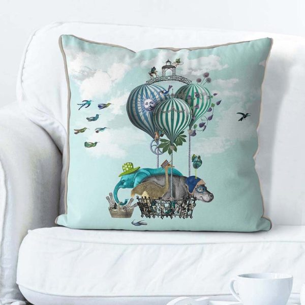 Hippo pillow with balloons set