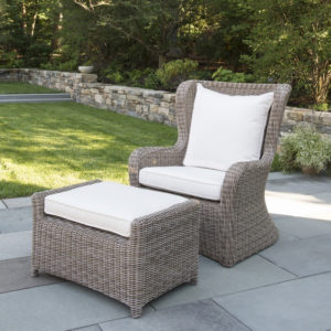 Sag Harbor wicker Hi-Back Lounge chair and ottoman.