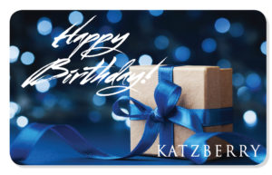 Happy Birthday eCard with blue background and gift box