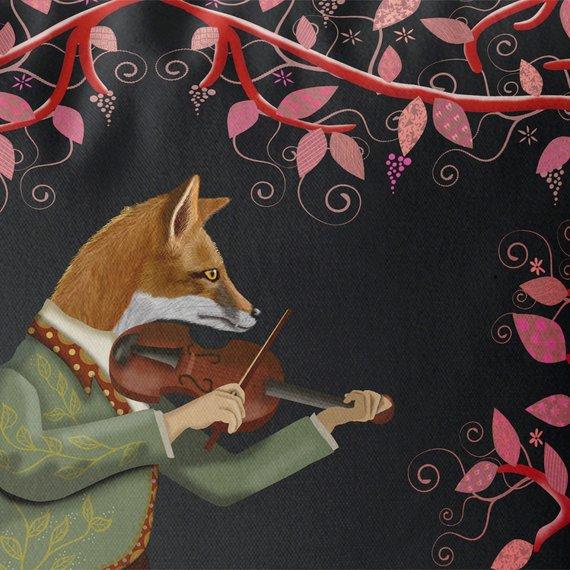 Minstrel Fox & Fiddle in black closeup