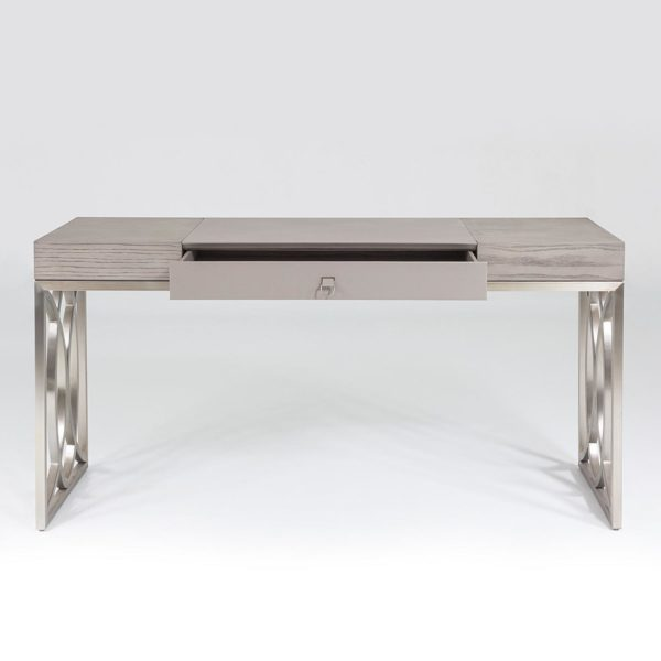 Holborn desk front view with open drawer