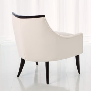 Boomerang white leather chair side view