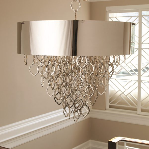 Chain Pendant Chandelier in Nickel finish