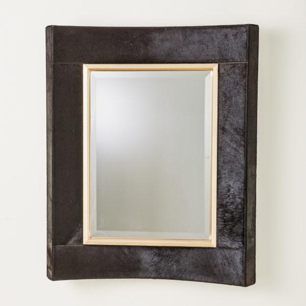 Black Hide Mirror with Gold trim