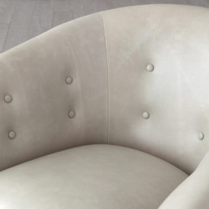 Mimi grey leather chair closeup