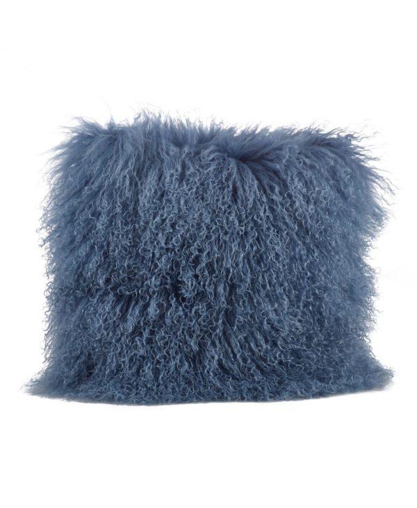 Blue Grey mongolian fur pillow square shown here