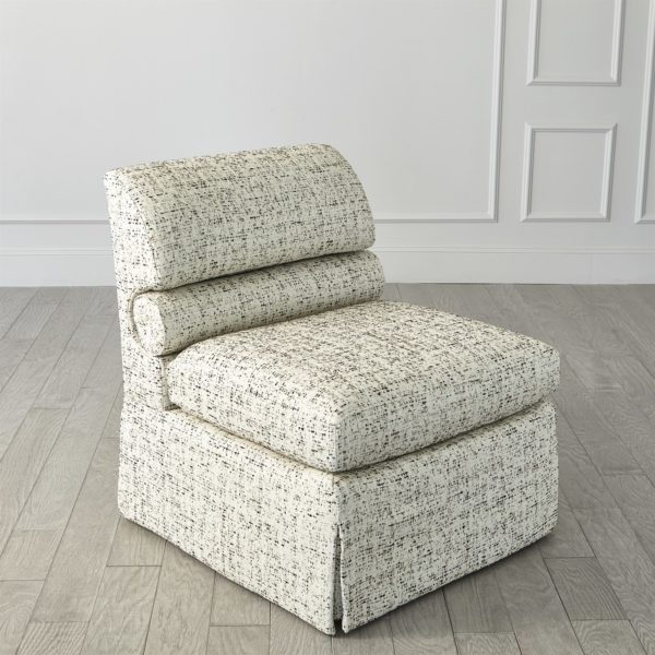 Bolster chair angled side front view
