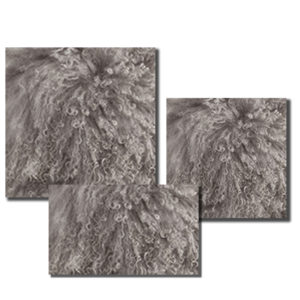 Mongolian Fur Pillow in Fog color