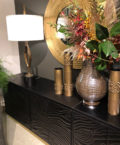 Quilted black leather long cabinet