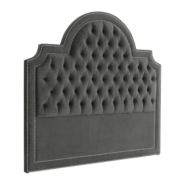 Granite Grey Headboard with Nickel nail heads
