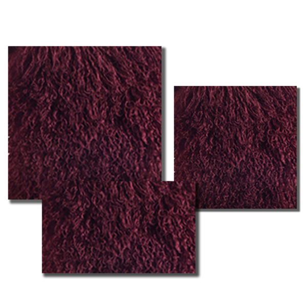 Mongolian Fur pillow in a deep Merlot color