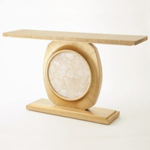 Opera fluted brass with quartz insert console